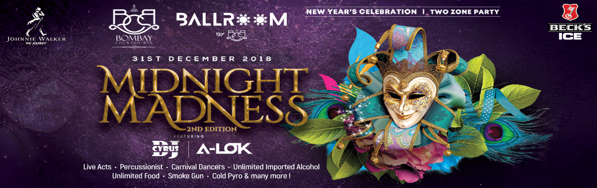 Book Online Tickets for MIDNIGHT MADNESS 2nd Edition, Mumbai. Mumbai!!!! Are you ready to witness a breathtaking sight when it hits the midnight? Every New Year brings something new, so here we are! After the smashing success of 2018 New Year Bash; Bombay Cocktail Bar brings back the night of infinite madness w