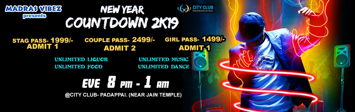Book Online Tickets for New Year Countdown 2k19 @ City Club, Pad, Chennai. New year eve event, to celebrate and welcome the coming year with a bang. Unlimited beverages and food with dj music & fun games to enjoy... join with us and letz start the year together. We even have rooms for enjoying the night and staying