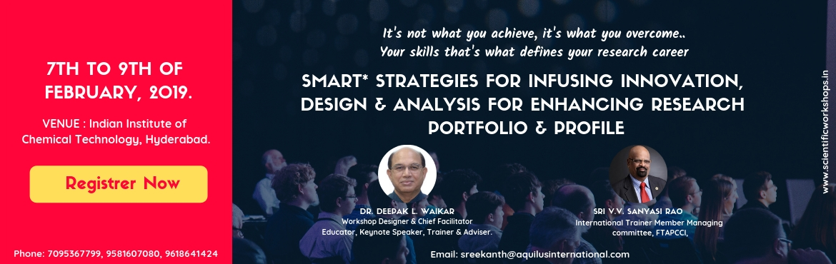 Book Online Tickets for SMART Strategies for Infusing Innovation, Hyderabad. This workshop is specially designed as highly interactive and experiential learning experience aims to lead participants to rediscover SMART* attributes of research mindset. Workshop program is planned to conceptualize innovative research ideas &