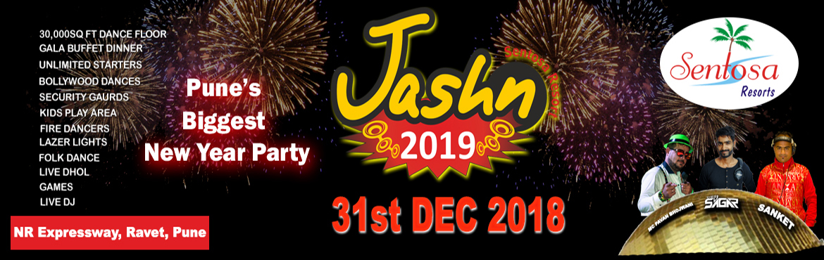Book Online Tickets for Jashn 2019@ Sentosa Resort, Wakad, Pune.  Soft drinks Live Barbeque Counter Chat Counter South Indian Counter Chinese Counter Soup Counter Veg Starters Non Veg Starters Veg & Non Veg Main Course Coffee Counter Dessert counter Ice Cream Fresh Cut Fruits And much more.....   LIVE BAR