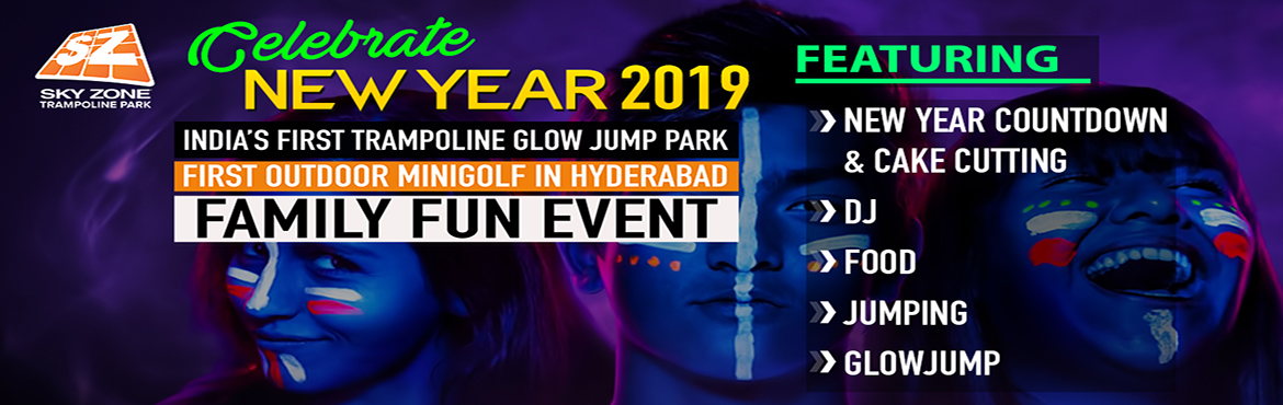 """Book Online Tickets for New Year Family Fun Event @ Sky Zone Tra, Hyderabad. Aren\'t you bored with the same old New Year parties? Parties filled with alcohol, loud music without any unique fun. Parties where taking your entire family along with kids & elderly is not possible. Worry no more! """"Sky Zone Hyderabad&rdqu"""