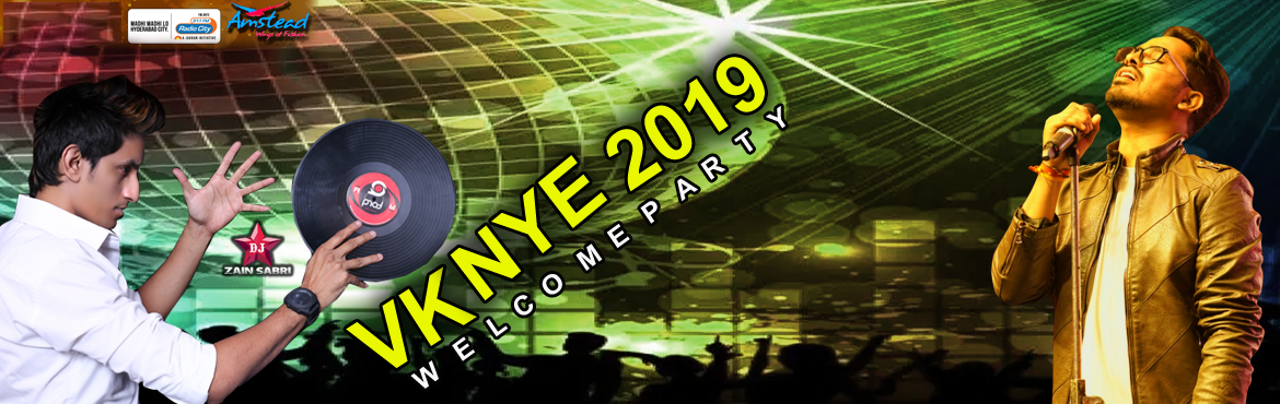 Book Online Tickets for VK NYE 2019 at Meridian School Grounds, Hyderabad.   Let's welcome the New Year with a cheer!Drop by and party with us. This New year evening get ready to party with us @ Meridian grounds, meridian school, Madhapur.   Special Appearance : Hyper Aadi and Anchor Meghana Kumar    Hyderab