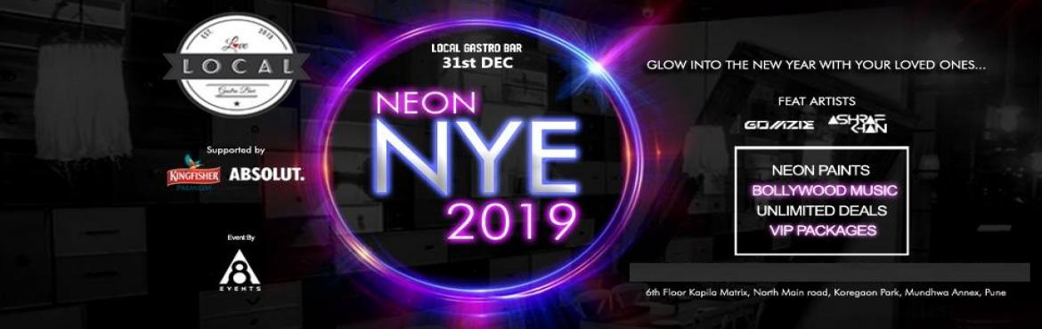 Book Online Tickets for Local Gastro Bars NEON NYE 2019, Pune. Early Bird Tickets . Couple 5000 Male Stag 3500 Female Stag 2500 VIP Early Birds Couple 7500 Male Stag 4500 Female Stag 3500 REGULAR AND VIP PACKAGES WITH UNLIMITED STARTERS AND DRINKS. T&C: Ticket purchase age 21+ years.