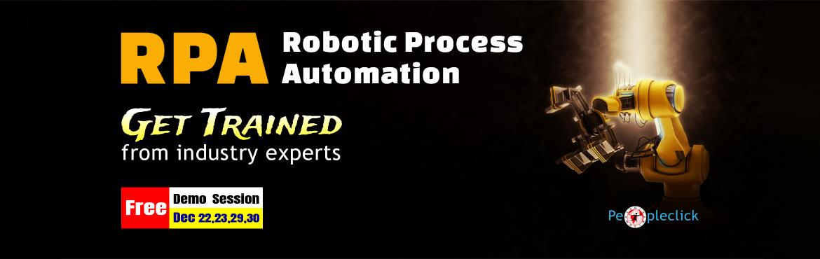 Book Online Tickets for RPA Training | Live Demo Session | Banga, Bengaluru.    WHAT IS RPA ?   Robotic process automation (RPA) is the use of software with artificial intelligence (AI) and machine learning capabilities to handle high-volume, repeatable tasks that previously required humans to perform. These tasks c