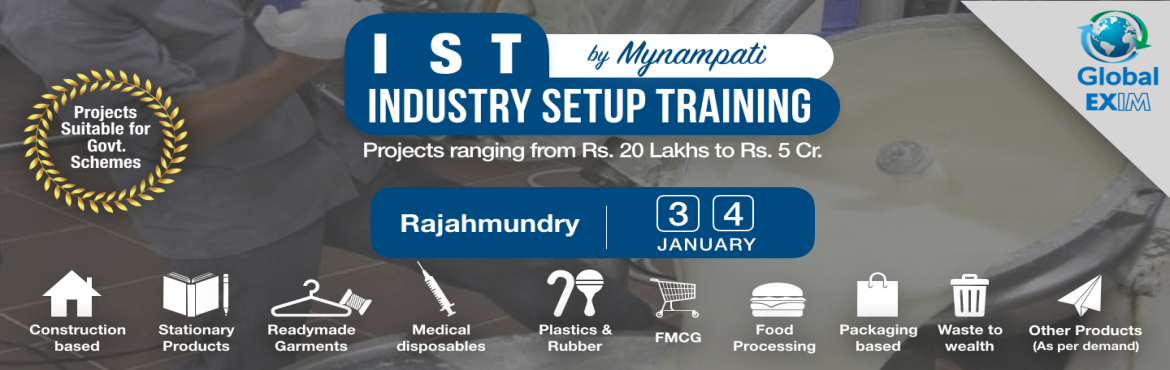 Book Online Tickets for Industry Setup Training- Untapped Innova, Rajahmundr. There are many opportunities for innovative projects to set up various types of industries, which are very profitable and unexplored by general entrepreneurs. Due to lack of right knowledge and exposure, people are unable to use the complete po