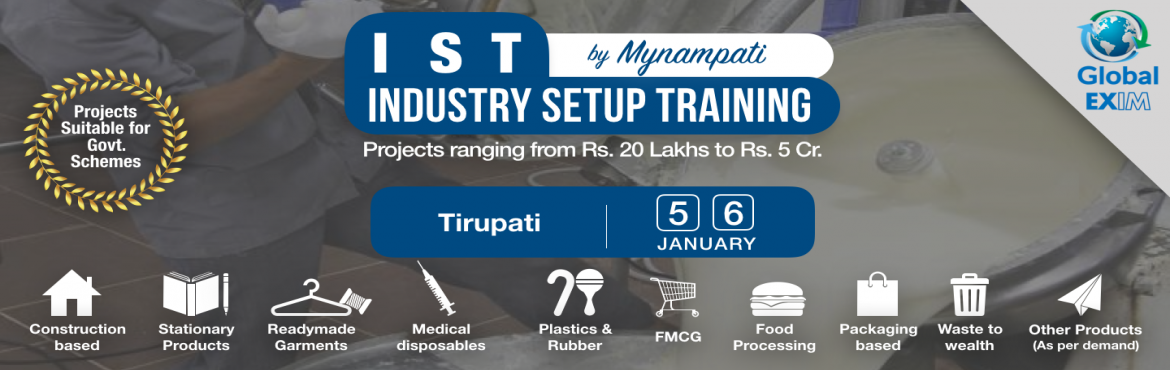 Book Online Tickets for Industry Setup Training- Untapped Innova, Tirupati. There are many opportunities for innovative projects to set up various types of industries, which are very profitable and unexplored by general entrepreneurs.  Due to lack of right knowledge and exposure, people are unable to use the complete po