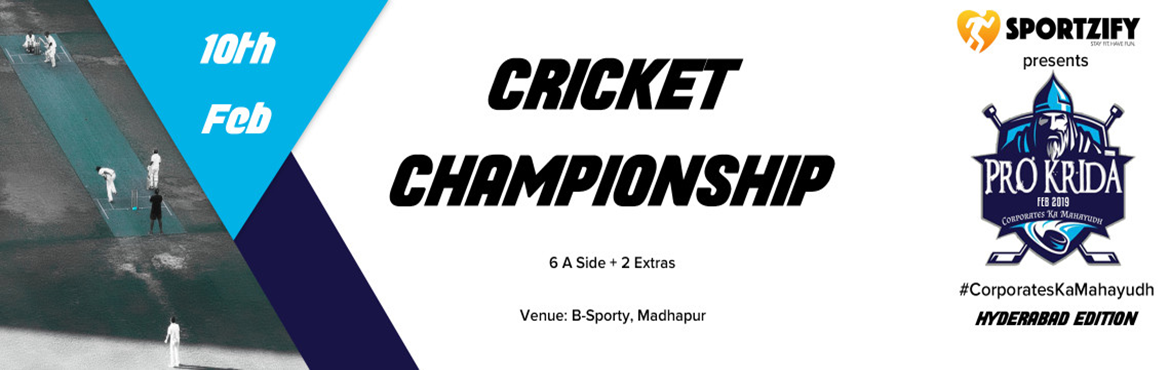 Book Online Tickets for PROKRIDA HYDERABAD CRICKET CHAMPIONSHIP, Hyderabad. INTRODUCTION Hey, Corporates! Break the monotony of a busy workspace with Prokrida. Join us at this event to play smart and rebuild stronger team relations. Prokrida successfully collaborates the idea of making team building a combo of fun and fitnes
