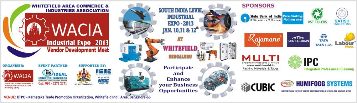 Book Online Tickets for WACIA INDUSTRIAL EXPO 2013, SOUTH INDIA , Bengaluru. ABOUT THE EVENT
