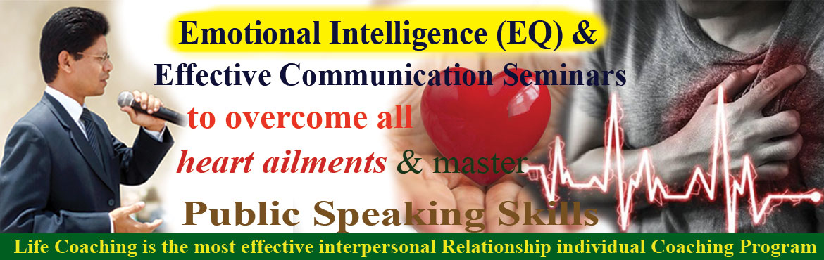 Book Online Tickets for Emotional Intelligence and Effective Com, Hyderabad. Are you able to communicate your ideas to your boss, customers in office and to your parents, wife and children at home? If we can\'t communicate our ideas properly, we start suppressing anger within us and resulting into resentment. Resentment is su