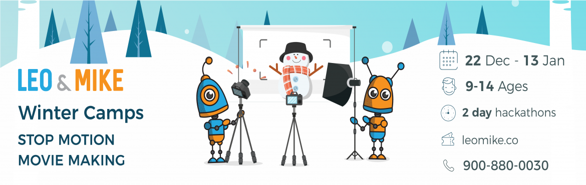 Book Online Tickets for Stop motion movie making for ages 9-14 @, Hyderabad. Check us out on https://www.leomike.co Leo&Mike is launching exciting winter camp programs across Hyderabad where your children will learn new technologies such as 3D printing, Robotics and Stop-motion movie making. About this camp Create and pub