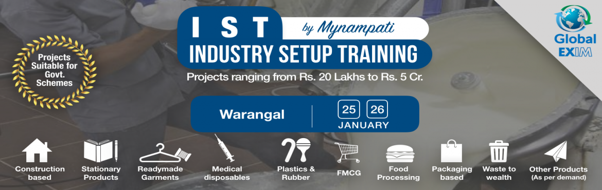 Book Online Tickets for Industry Setup Training- Untapped Innova, Hanamkonda. There are many opportunities for innovative projects to set up various types of industries, which are very profitable and unexplored by general entrepreneurs.  Due to lack of right knowledge and exposure, people are unable to use the complete po