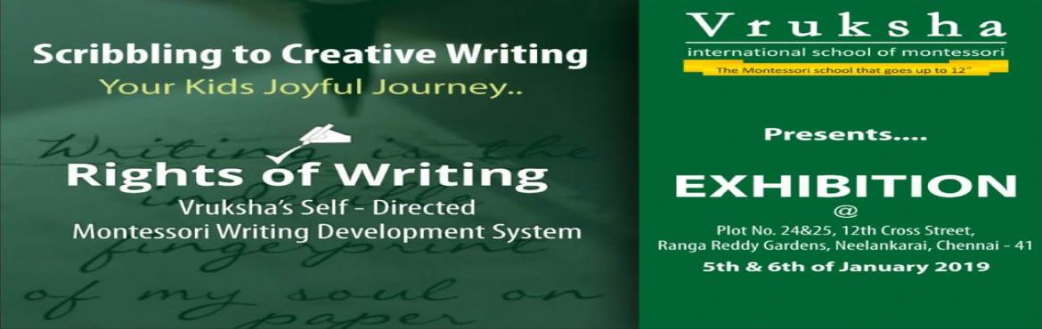 Book Online Tickets for Scribbling to Creative Writing - Vruksha, Chennai. The majority of the world\'s population has mastered the tasks of Writing and Reading but only a few among them have recognized the art in it. A child sees anything that appeals to it as an art and goes on to master it with its intellectual Independe