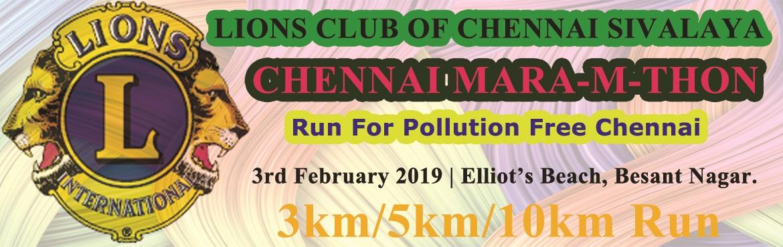 Book Online Tickets for Lions Chennai Mara-M-Thon 2019, Chennai.  CHENNAI MARA-M-THON Date: 3rd February 2019 Venue: Elliot's Beach, Besant Nagar. 3KM Fun Run/Walk: T- Shirt, Medal, Certificate, Bib Number, Refreshments and Trophies for Top3 Winners. Registration Fee: Rs. 400/- 5KM Dream Run: T- Shirt,