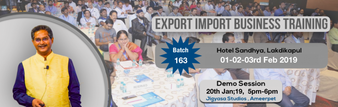 Book Online Tickets for Demo on Export Import Business Opportuni, Hyderabad. Export-Import Business training is conceived to help startups, individuals who wish to start export import and who wish to develop the practical skills and knowledge required to establish and build business linkages with International Buyers/Agents.