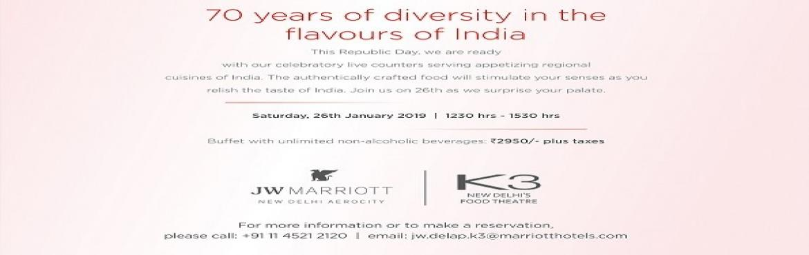 Book Online Tickets for Buffet at K3, JW Marriott New Delhi Aero, New Delhi. This Republic Day, we are ready with our celebratory live counters serving appetizing regional cuisines of India. The authentically crafted food will stimulate your senses as you relish the taste of India. Join us on 26th as we surprise your palate.