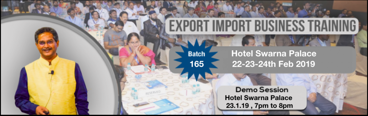 Book Online Tickets for Demo on Export Import Business Opportuni, Vijayawada. Export-Import Business training is conceived to help startups, individuals who wish to start export import and who wish to develop the practical skills and knowledge required to establish and build business linkages with International Buyers/Agents.