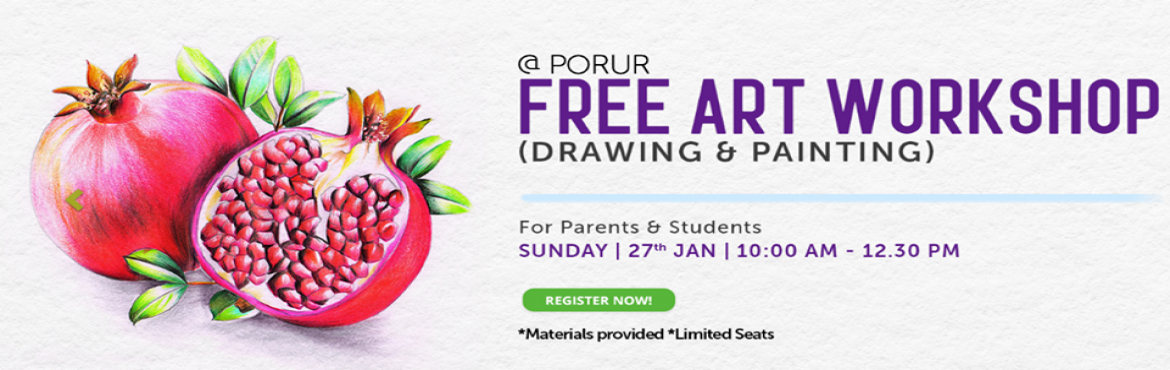Book Online Tickets for Exclusive Free Art Workshop @ Porur By L, Chennai. PARENTS & STUDENTS who missed all the fun @ our last workshop… block your seats for our next Art workshop (DRAWING & PAINTING)On Jan 27th 2019.*Materials provided *Limited SeatsYou can also block seats for your friends &