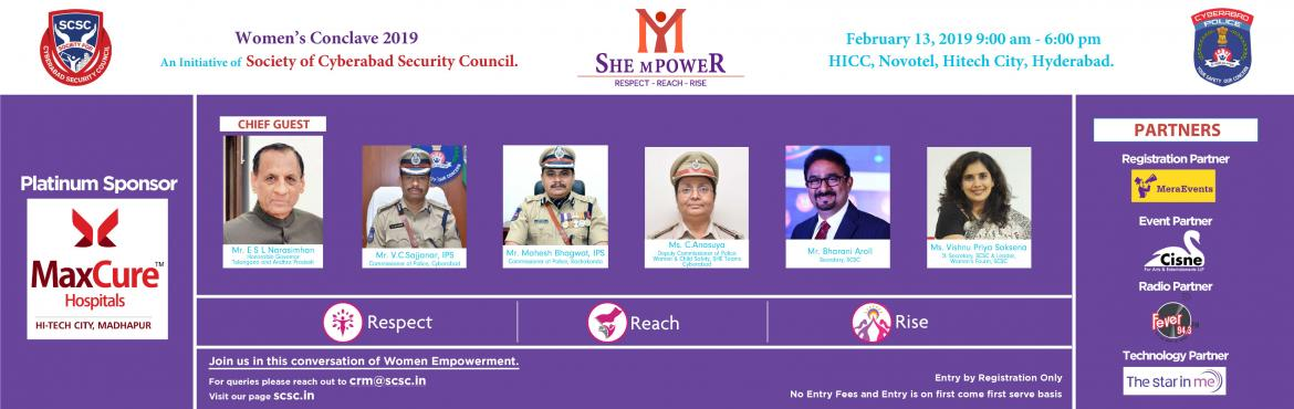 Book Online Tickets for SCSC WOMENS CONCLAVE 2019, Hyderabad.    ABOUT THE THEME - RESPECT, REACH, RISE  -     RESPECT -          Respect is the most fundamental aspect of empowerment. This theme explores and probes the various ways in w