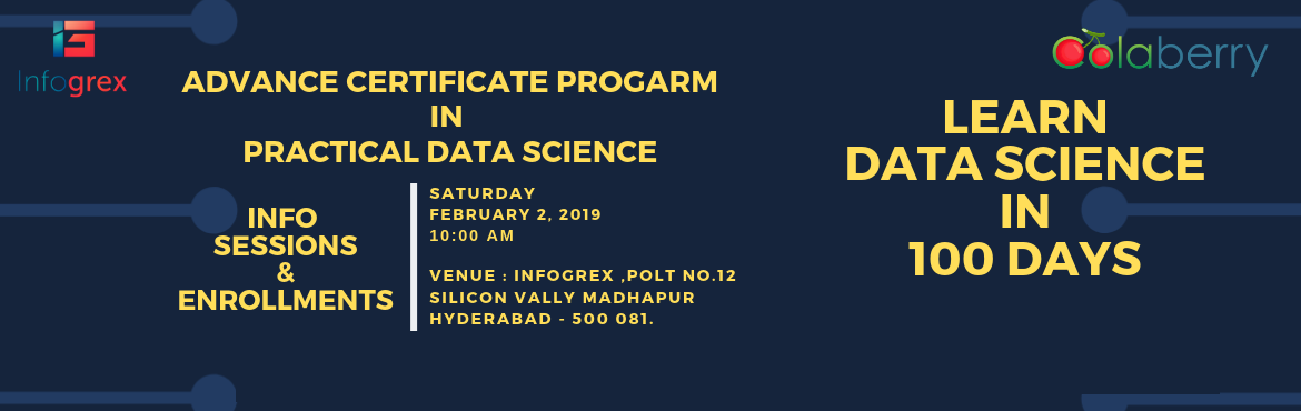 Book Online Tickets for SEMINAR BY INDUSTRY EXPERTS ON DATA SCIE, Hyderabad. Seminar on Practical Data Science program by industry experts on 2ndFebravary2019 at 10.00 AM, atPlot No 12, Second Floor, Silicon Valley, Image gardens Road, Hitech city, Madhapur,Hyderabad.Academia-Research-Industry Collaboration