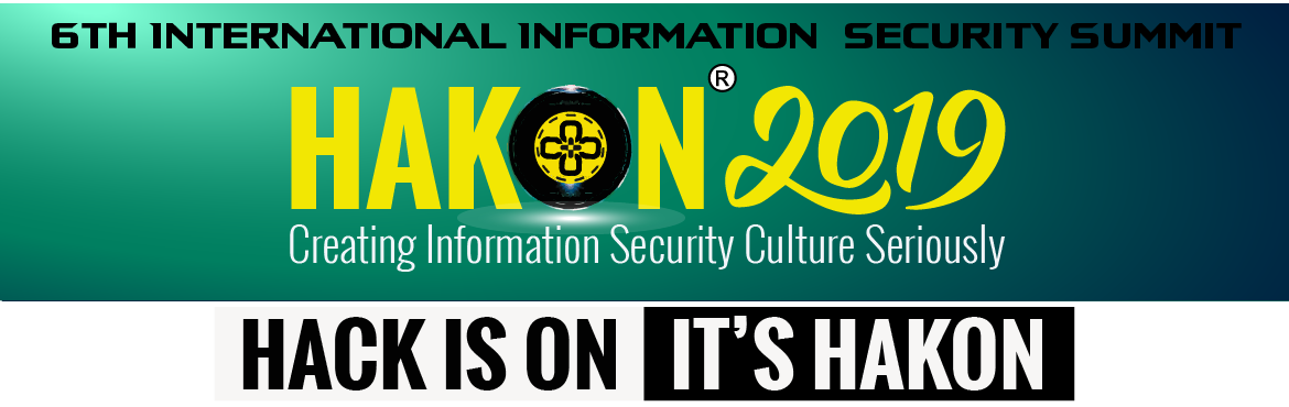 "Book Online Tickets for HAKON-2019 -  6TH INTERNATIONAL INFORMAT, Indore. 6th International Information Security Meet "" Hakon'2019, The Successful Rise of AI and Datafication. As the AI wave becomes transformational across end-markets from enterprise to consumer platforms, from cybersecurity to robotics, the de"