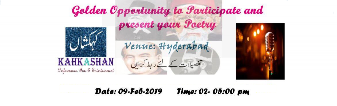 Book Online Tickets for BAIT-BAAZI, Hyderabad. Bait Baazi Competition will be organized in Hyderabad on 9th Feb 2019. It\'s a Traditional Urdu Poetry game