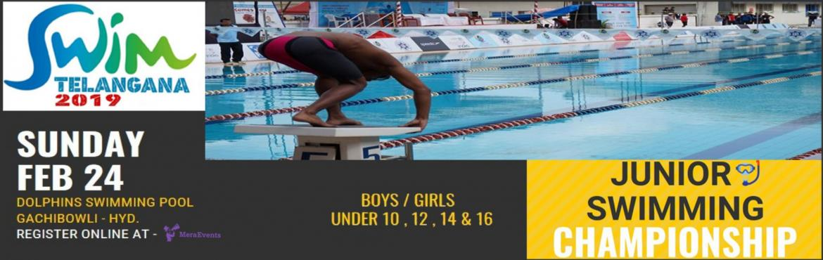 Book Online Tickets for Swim Telangana 2019 - Hyderabad ( Junior, Hyderabad. LIFE SAVING TELANGANA is pleasured to invite all the little and enthusiastic swimmers of hyderabad for its first event of SWIM TELANGANA 2019 - junior swimming championship in Dolphin pool at Gachibowli for boys/ girls under age categories 10 , 12 ,
