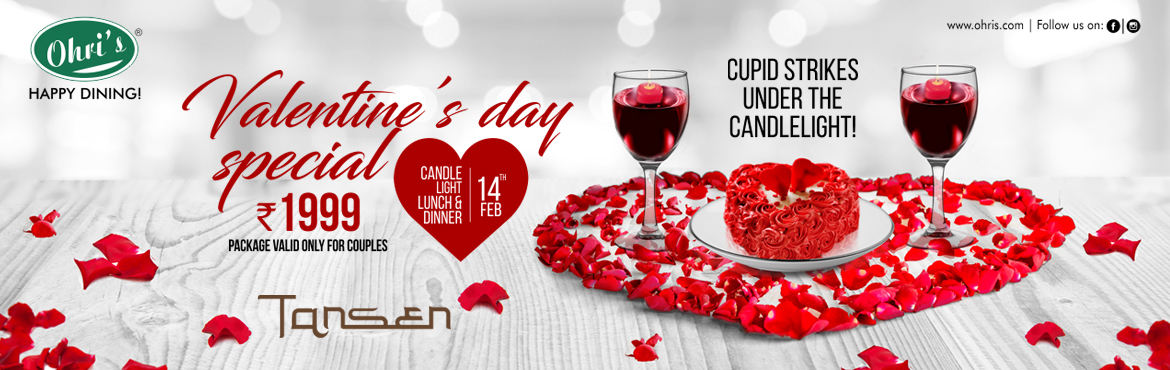 Book Online Tickets for Valentines day Party @ Ohris Tansen, Hyderabad. Candles and Wine the Enduring romantic duo and Cupid strikes under the candle light. Enjoy this valentine's day with your loved One at Ohri's restaurant with the Valentine's day Package comprising of 4 course dinner/Lunch with Mockt