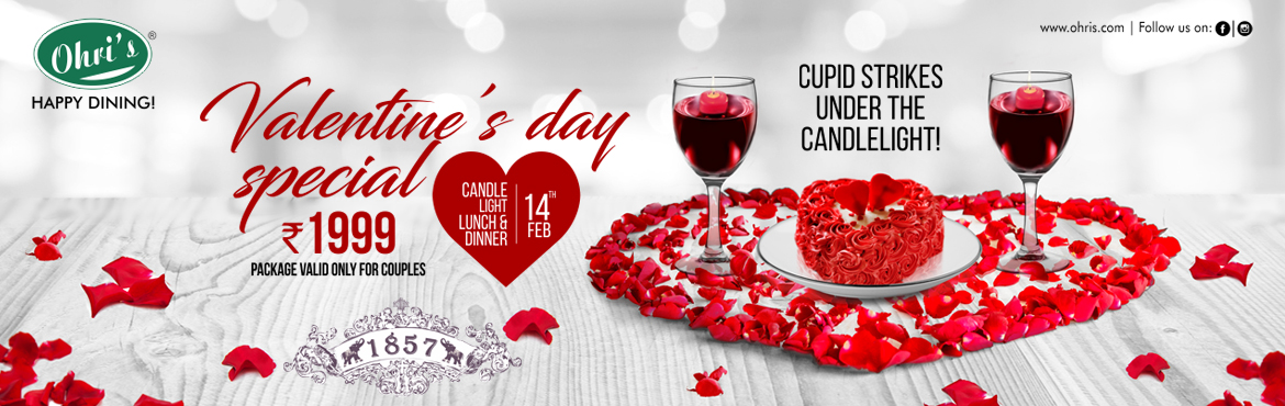 Book Online Tickets for Valentines day Party @ Ohris 1857, Hyderabad.   Candles and Wine the Enduring romantic duo and Cupid strikes under the candle light. Enjoy this valentine's day with your loved One at Ohri's restaurant with the Valentine's day Package comprising of 4 course dinner/Lunch wit