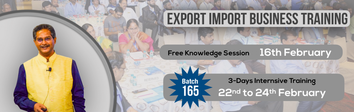 Book Online Tickets for Guntur: Knowledge Session on Export-Impo, Guntur. Export-Import Business training is conceived to help startups, individuals who wish to start Export-Import and who wish to develop the practical skills and knowledge required to establish and build business linkages with International Buyers/Agents.