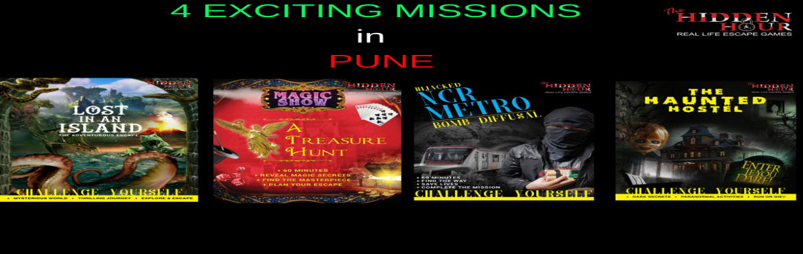 Book Online Tickets for Escape Room Game in Pune, Pune. Real Life Escape GamesGame is a new concept in the world of gaming, making waves across the world, topping the activity charts and creating much BUZZ. Come to The Hidden Hour and experience the concept that people are going gaga over!!!!