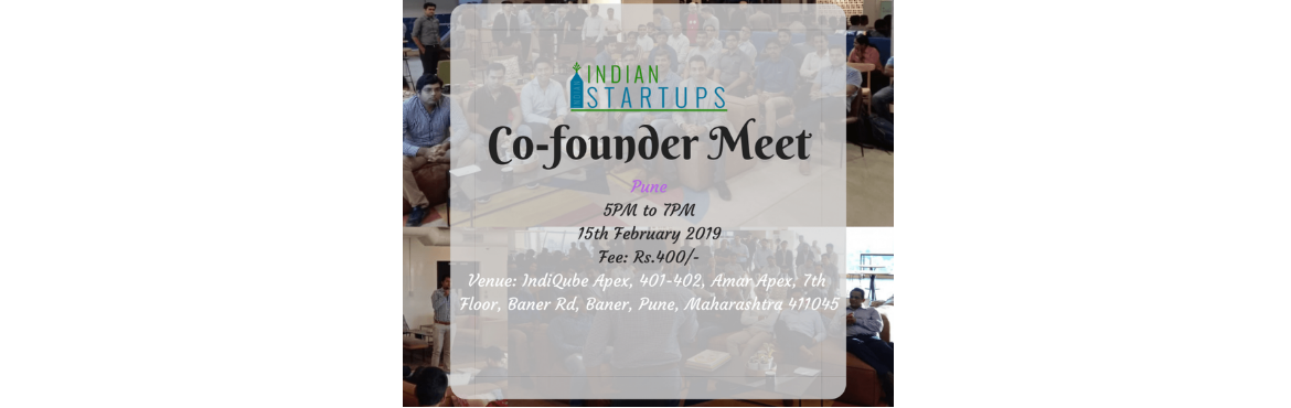 Book Online Tickets for Co-Founder Meet - February 2019 Edition , Pune.  Co-Founder Meet - February 2019 Edition at Pune    \'Co-Founder Meet\' is a platform for an entrepreneur to meet like-minded entrepreneurs; they could be looking for a Co-Founder, looking for inspiration, looking for opportunities to