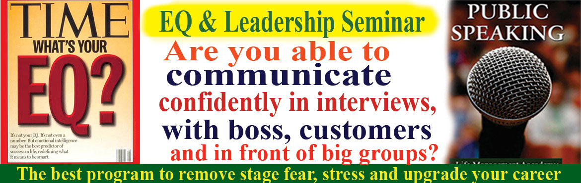 Book Online Tickets for Emotional Intelligence and Leadership Se, Hyderabad. Welcome to Emotional Intelligence and Leadership Seminar with Public Speaking Practice. Are you able to communicate confidently in interviews, with boss, colleagues, and customers and in front of big group?  I realized public speaking