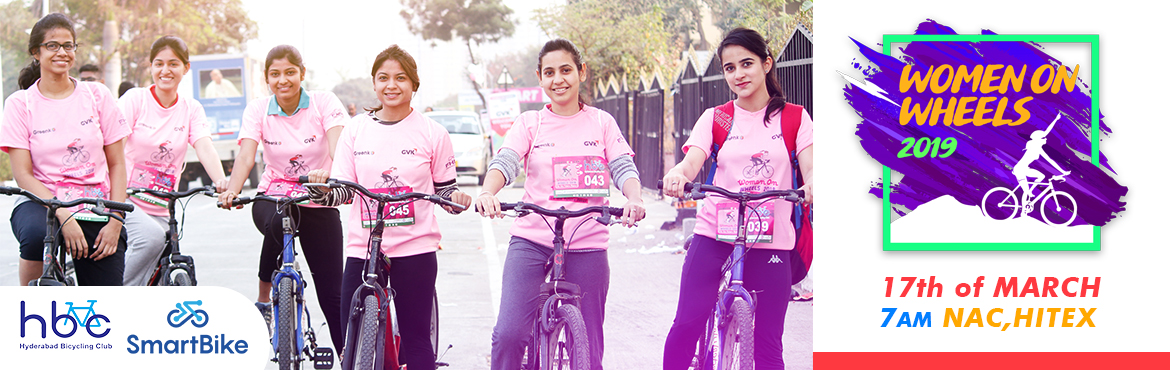 Book Online Tickets for Women On Wheels 2019, Hyderabad. To encourage more and more women to ride a cycle and make cycling a part of their healthy lifestyle, Hyderabad Bicycling Club is organising a cycling event for women and their buddies (who motivate them in their lives & are their strength) o
