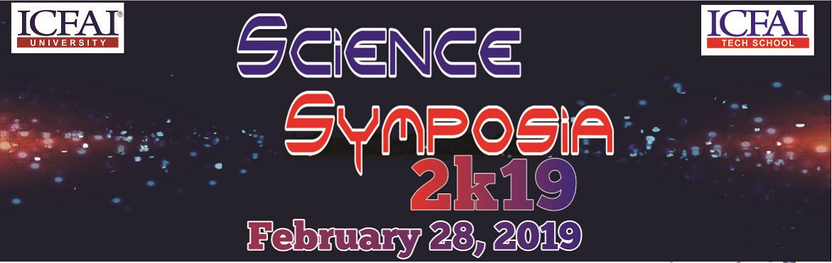 Book Online Tickets for Science Symposia 2k19, Jaipur. On the occasion of National Science Day We are organising A one day Science Symposia in The ICFAI University, Jaipur. It is a great opportunity for Students to overcome their knowledge of Science. So here are the list of events. Events :- Catec