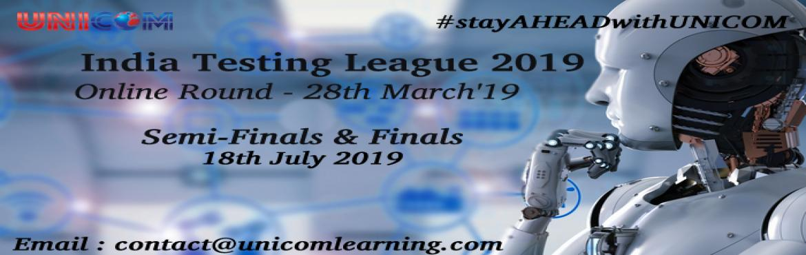 Book Online Tickets for India Testing League 2019, Bengaluru. India Testing League 2019 The 7th edition of the annual corporate quiz contest India Testing League is back!! Purpose of this contest is to identify India\'s most knowledgeable Testers. This year, we have revised the topics to make it a little more f