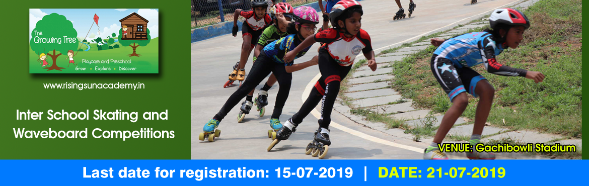 Book Online Tickets for Skating and Waveboard Competition, Hyderabad.   The Rising Sun Academy ROLLER SPEED SKATING COMPETITION 2019 Rules & Regulations   Competition will be held on 21.07.2019. The last date for submission of the Entry Form is 15.07.2019. Competition will be held in the following age categor