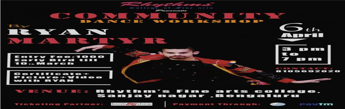 Book Online Tickets for DANCE WORKSHOP BY RYAN MARTYR, Bengaluru. Its an incentive dance workshop with \