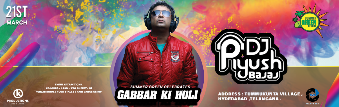 Book Online Tickets for Gabbar Ki Holi By Dj Piyush Bajaj, Secunderab. To all the Jays, Veerus and Basantis of Hyderabad, holi is just weeks away and so are we. We had a great bash last year, and this year we are going higher and higher. If fun is on your mind, and you looking to unleash it on the world, then Gabbar ki