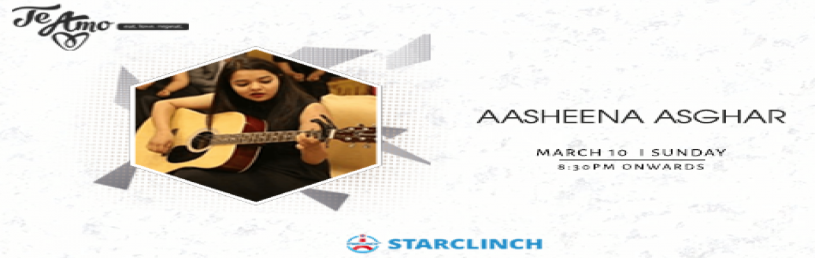 Book Online Tickets for Aasheena Asghar - Performing LIVE At Te , New Delhi. It\'s really interesting how music can knock down a wall and be an open connection between you and someone else where something else can\'t. When music comes along, it just opens your heart a little more.   Make your Sunday night even more roman