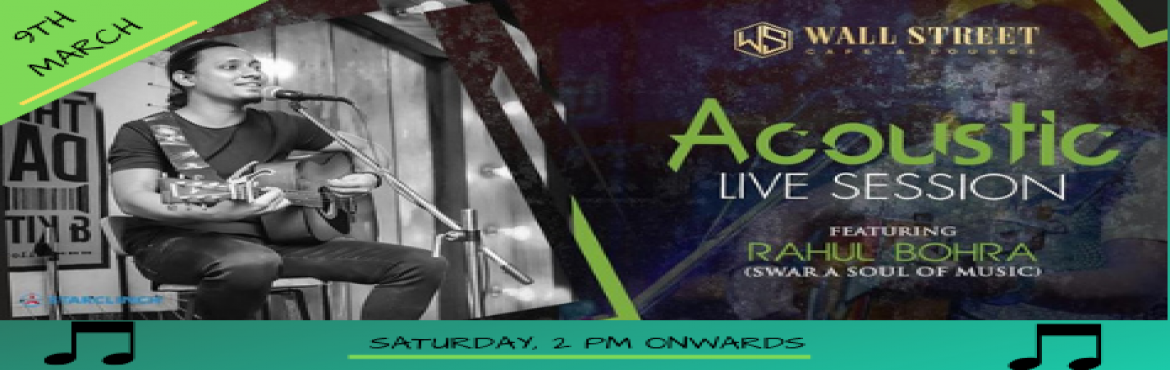 Book Online Tickets for Rahul Bohra - Performing LIVE at Wall St, New Delhi.   End up your week with beautiful musical memories and give your mind \'A TADKA of Bollywood music\' So, If you\'re a Bollywood song lover then you should come to enjoy a soul of Bollywood songs with the unplugged volume of sound with Rahul Bohr