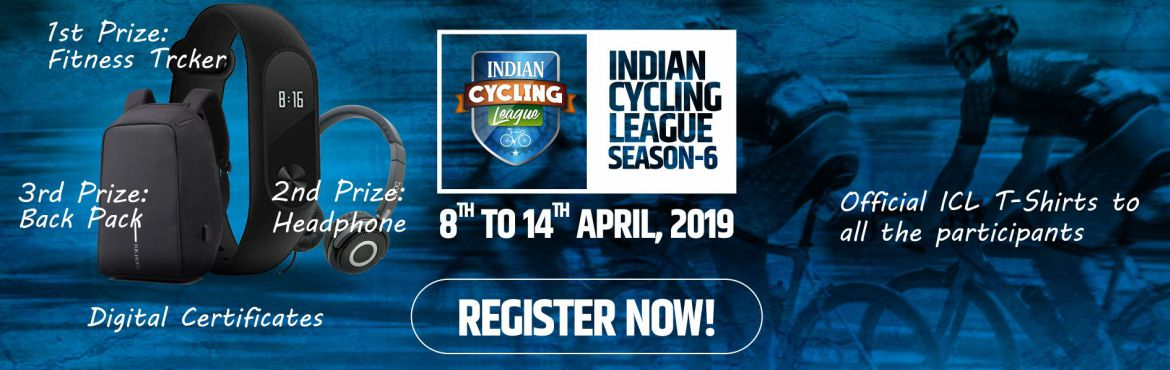 Book Online Tickets for Indian Cycling League - Season 6, hyderabad. Take participate in gps based cycling race of Indian Cycling League and win cool prizes.  1st Prize: Fitness Tracker 2nd Prize: Headphone 3rd Prize: Back pack  Digital Certificates and Official ICL T-shirts to all the participants.   I&rsqu