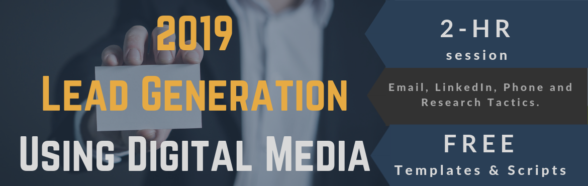 Book Online Tickets for Lead Generation using Digital Media in 2, Hyderabad.  A powerful 2-hour session to discover the latest tactics to generate leads using digital media in 2019.   Are your sales numbers very dependend on generating new leads? Do you want to reduce the pains of lead generation struggles? Is cold
