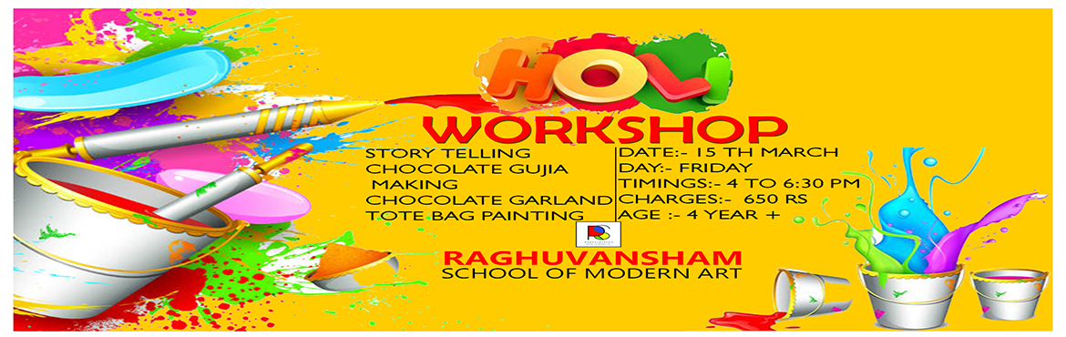 Book Online Tickets for Holi Workshop , Delhi.   HOLI WORKSHOP STORY TELLING CHOCOLATE GUJIA MAKING CHOCOLATE GARLAND TOTE BAG PAINTING   Date: 15 March 2019 Day : Friday Timing : 4 to 6:30 pm Age : 4 year onwards    Venue : Punjabi Bagh
