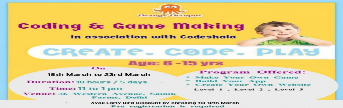 Book Online Tickets for Coding Game Making, New Delhi. t\'s time to learn skills that make you the tech-master. The Coding and Game Making Workshop at Orange Octopus teaches you how to make your own game and app and create your own website. So, what are you waiting for, enroll for this and be the T