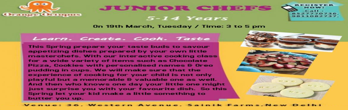 Book Online Tickets for Junior Chef at Orange Octopus, New Delhi. How much fun it is to have your own little Master Chefs at home making yummy yummy dishes that they learn how to make and bake. This amazing Workshop at Orange Octopus teaches your kids how to make savoury dishes that they\'d totally love and s