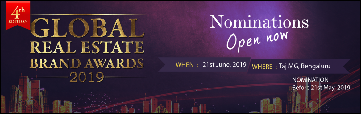 Book Online Tickets for Global Real Estate Brand Awards 2019, Bengaluru. Global Real Estate Brand Awards (GREBA), one of the most prestigious award show across the globe is all excited to present the 4th Edition to felicitate the real estate professionals who have been imperative and instrumental in changing the face of r