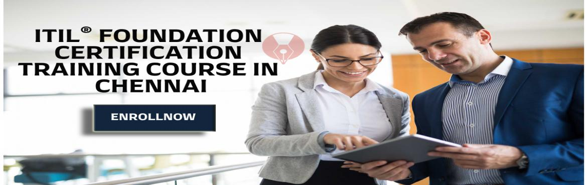 Book Online Tickets for ITIL Foundation Certification Training C, Chennai.  ITIL® FOUNDATION CERTIFICATION TRAINING COURSE IN CHENNAI  Details: Training type: Online Classroom Date: Apr 11 - Apr 12  Event Actual Price: INR 22990Event Early Bird Price: INR 19990Event Early Bird Date: till 16th Apr 2019 Timing