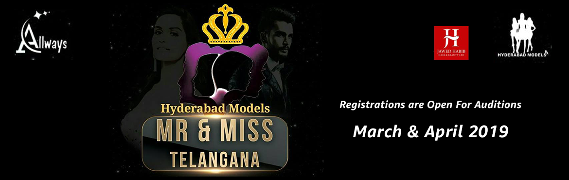 Book Online Tickets for Mr and Miss Telangana 2019 Auditions, Hyderabad. Hyderabad Models presents  Mr and Miss Telangana 2019 Auditions 2rounds will be there , 1st round ramp walk n introduction round 2nd round question n answer round Dress code :    Girls white Tops n shorts, Jeans skirts  Boys white shirts or
