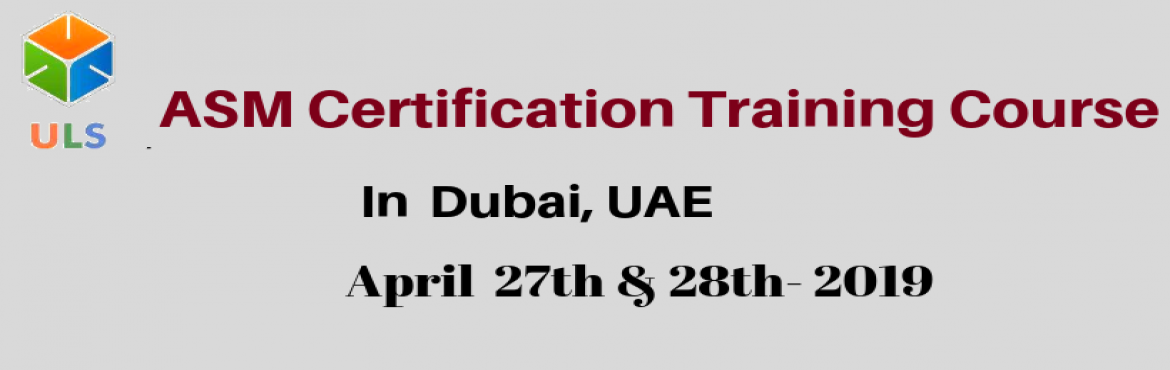 Book Online Tickets for Agile Scrum Master Certification Trainin, Dubai. UlearnSystem's Offer Agile Scrum Master(ASM) Certification Training Course in Dubai, UAE. Agile Scrum Master Certification Training Course Description: Agile Scrum Master Training Course in Dubai helps participants learn the best practices to d