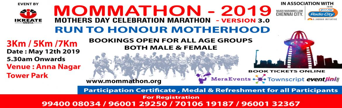 Book Online Tickets for MOMMATHON 2019 - Version 3.0 - RUN TO HO, Chennai. iKreate Media is happy to launch our third Edition of Mommathon 2019 - Mothers day marathon in Anna nagar Tower Park... Starting point will be from tower park.